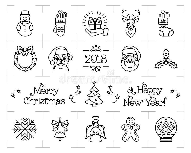Weihnachtsikonen stellten, Feiertagssymbole, Ikonen des neuen Jahres ein Chinesisches Tierkreisjahr des Hundes 2018 Flache Illust vektor abbildung