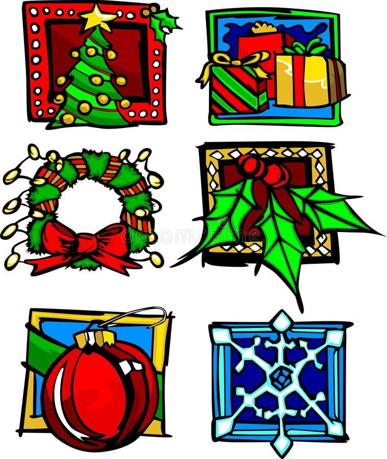 Weihnachtsikonen und -zeichen lizenzfreie abbildung