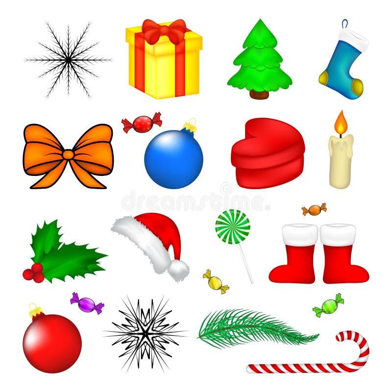 Weihnachtsikonensatz, Symbol, Design Wintervektorillustration lokalisiert auf weißem Hintergrund vektor abbildung