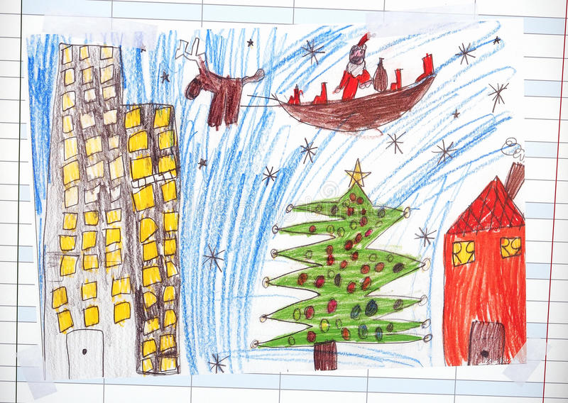 Weihnachtsillustration über Santa Claus stockfotos