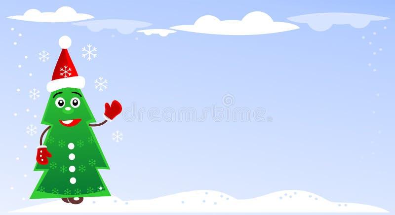 Weihnachtsillustration mit grünem Tannenbaum lizenzfreie abbildung
