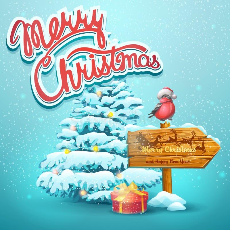 Weihnachtsillustration mit Tanne, Zeiger, Dompfaff lizenzfreie abbildung