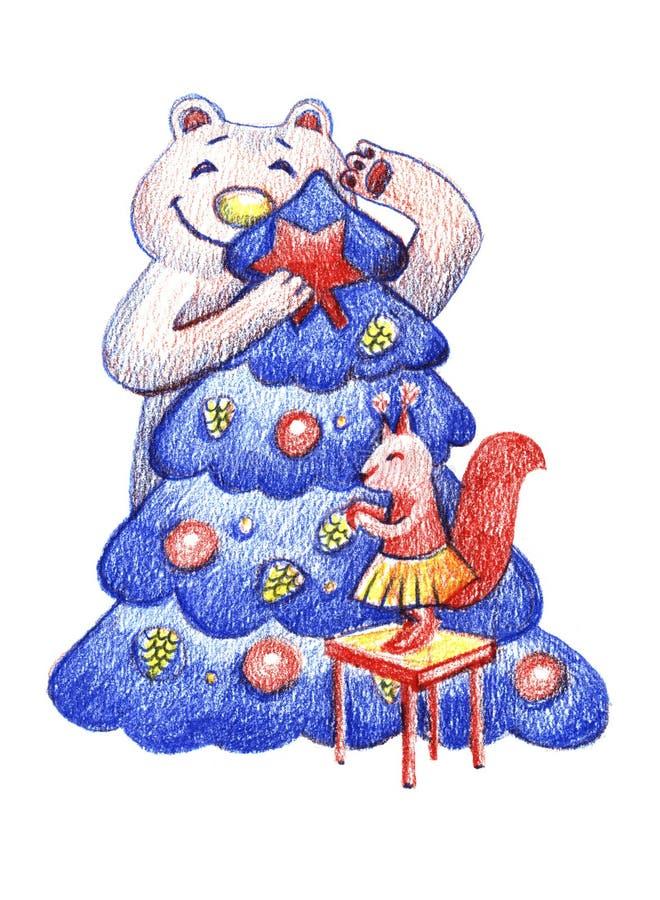 Weihnachtsillustration mit wilden Tieren Eichhörnchen und Bär, die einen Weihnachtsbaum verzieren Färben Sie Bleistift lizenzfreie abbildung