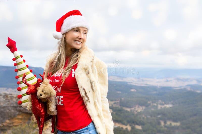 Weihnachtsim juli Weihnachten in den blauen Bergen lizenzfreies stockbild