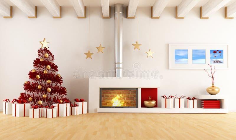 Weihnachtsinnenraum lizenzfreie abbildung
