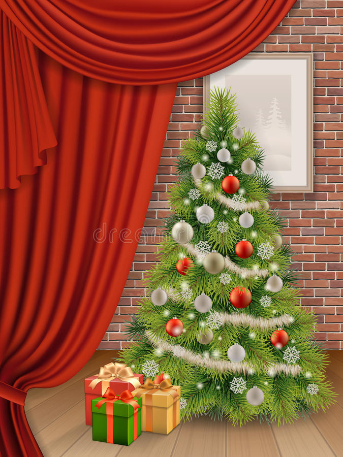 Weihnachtsinnenraum mit Baum und rotem Vorhang lizenzfreie abbildung