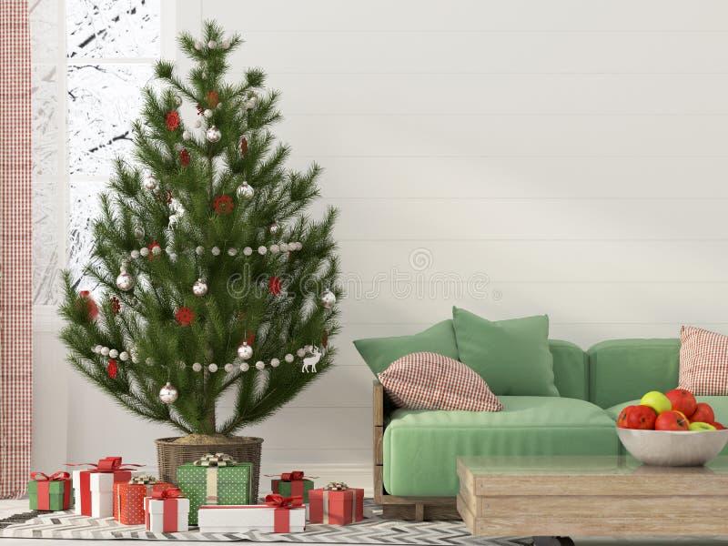 Weihnachtsinnenraum mit einem grünen Sofa stock abbildung
