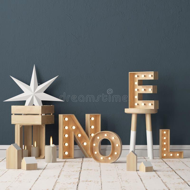 Weihnachtsinnenraum, verziert in der skandinavischen Art Wiedergabe 3d Abbildung 3D stock abbildung