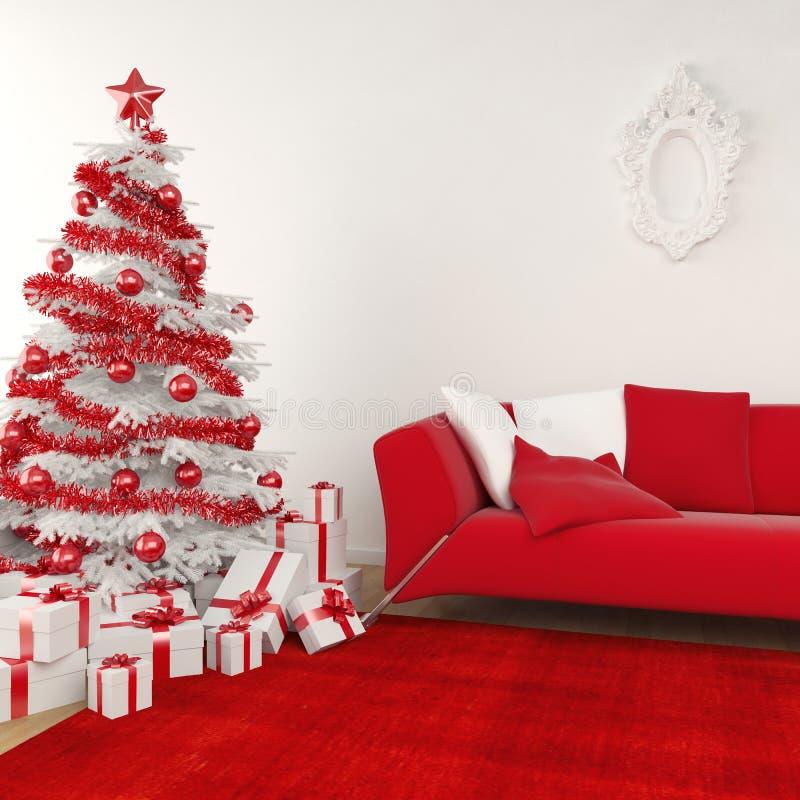 Weihnachtsinnenraum in weißem und in Rotem lizenzfreie abbildung