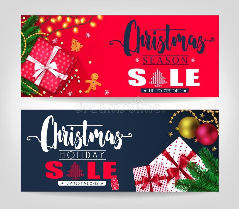 Weihnachtsjahreszeit-und -feiertags-Verkaufs-Fahnen eingestellt mit Kiefern-Blättern vektor abbildung