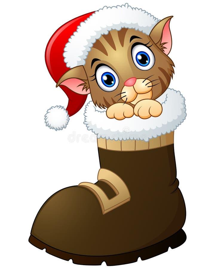 Weihnachtskätzchen in Sankt-Stiefeln stock abbildung