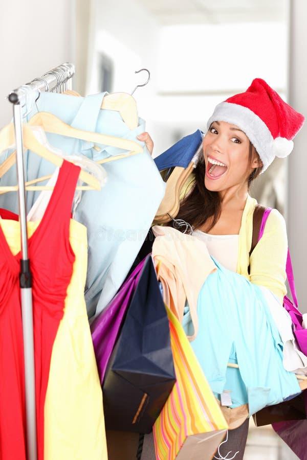 Weihnachtskäufer erregt stockbild