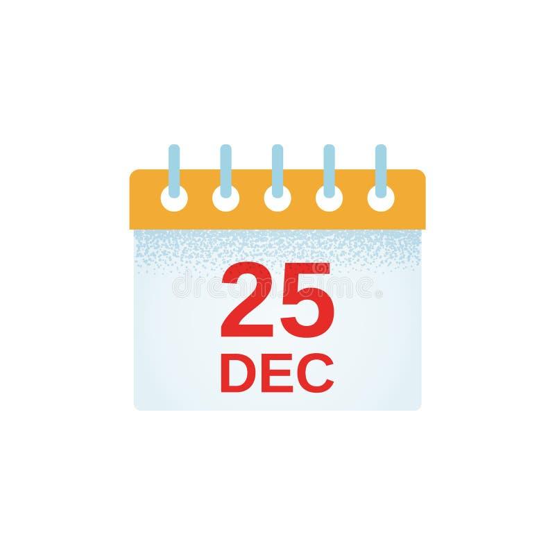 Weihnachtskalenderikone Auch im corel abgehobenen Betrag 25. Dezember Datum I stock abbildung