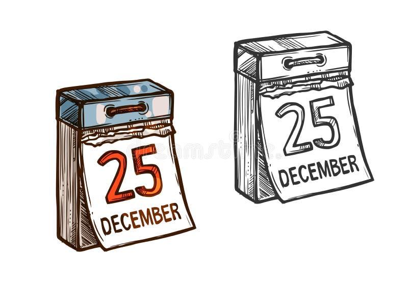 Weihnachtskalendertag-Vektorskizzenikone lizenzfreie abbildung