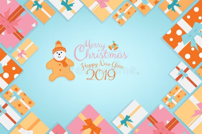 Weihnachtskalligraphie-Hintergrundgeschenke als Rahmen mit Plätzchenzeichentrickfilm-figur mit Kopienraum lizenzfreie abbildung