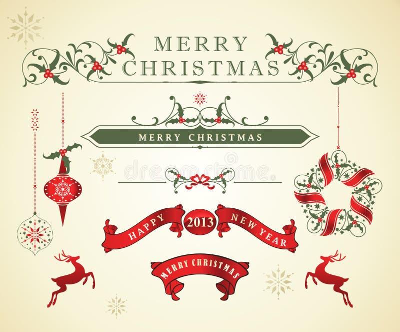 Weihnachtskalligraphische Auslegung-Elemente stock abbildung