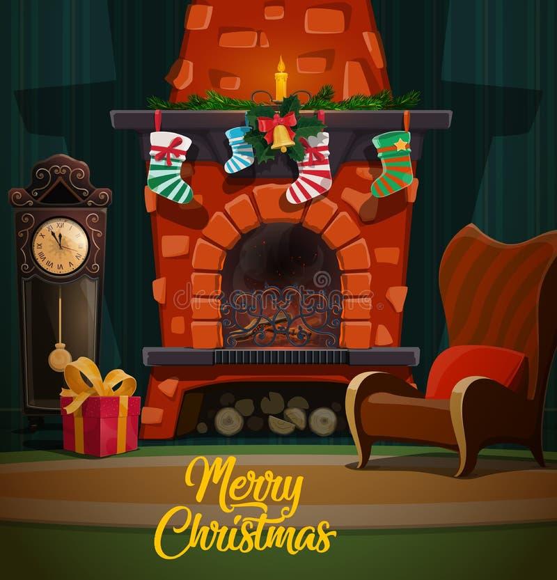 Weihnachtskamin mit Weihnachtsgeschenken und -strümpfen lizenzfreie abbildung