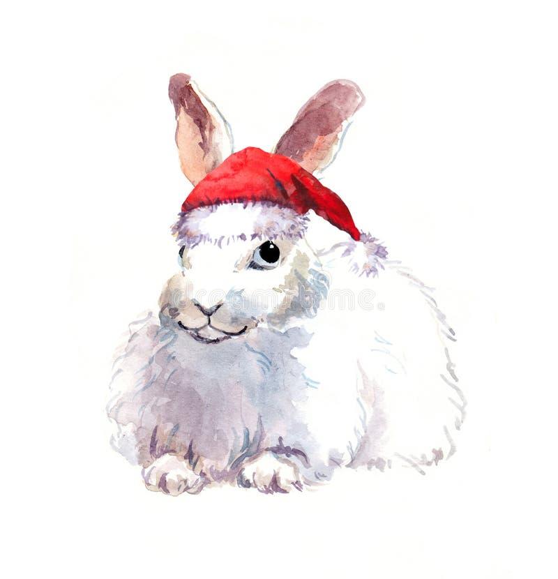 Weihnachtskaninchen im roten santa& x27; s-Hut Aquarelltier stock abbildung