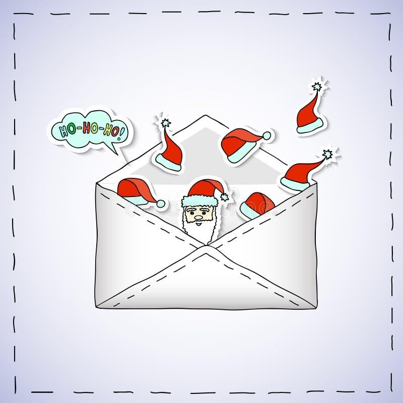 Weihnachtskarikatur-Fahne - Umschlag mit Weihnachtsaufklebern stockfotografie