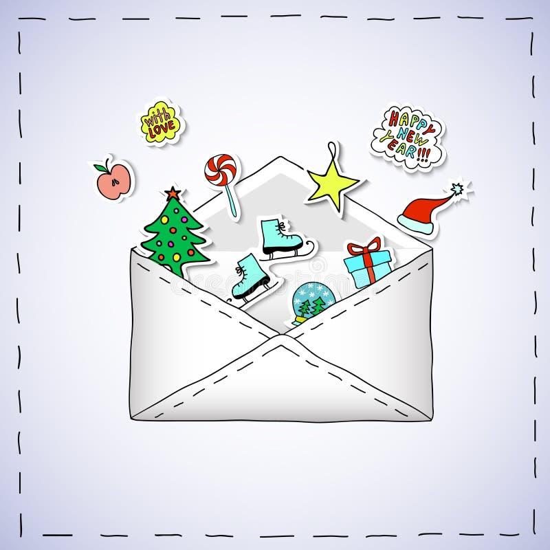 Weihnachtskarikatur-Fahne - Umschlag mit Weihnachtsaufklebern stockfotos