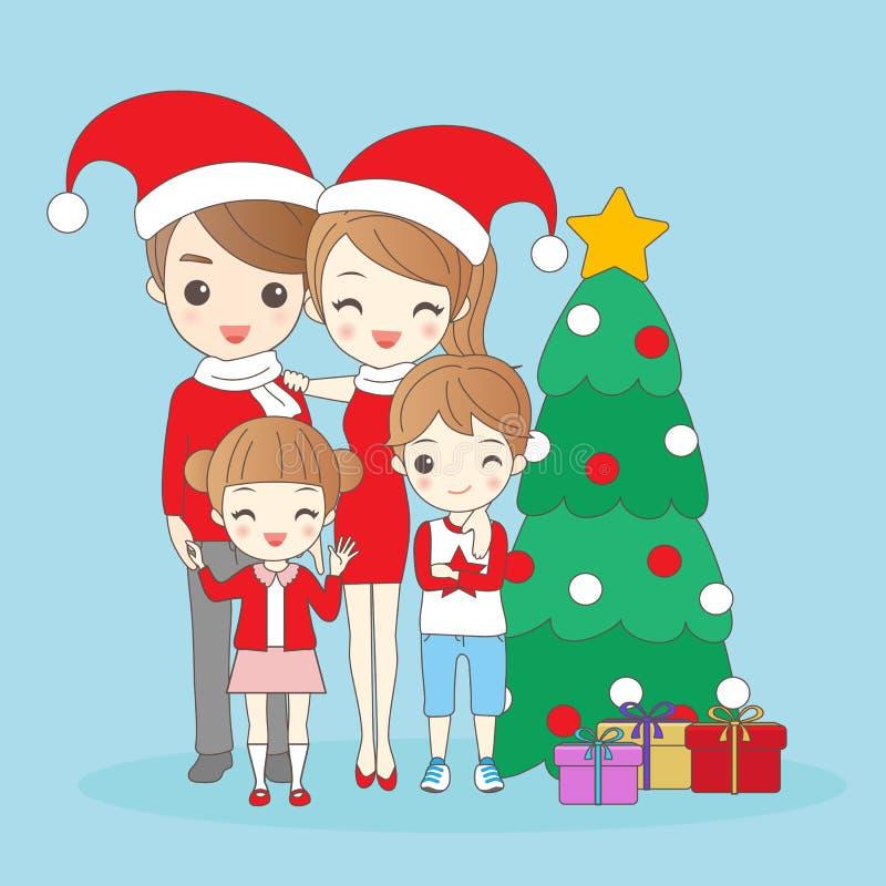 Weihnachtskarikaturfamilie stock abbildung