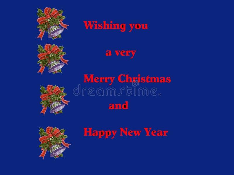 Weihnachtskarte in der blauen Abbildung vektor abbildung