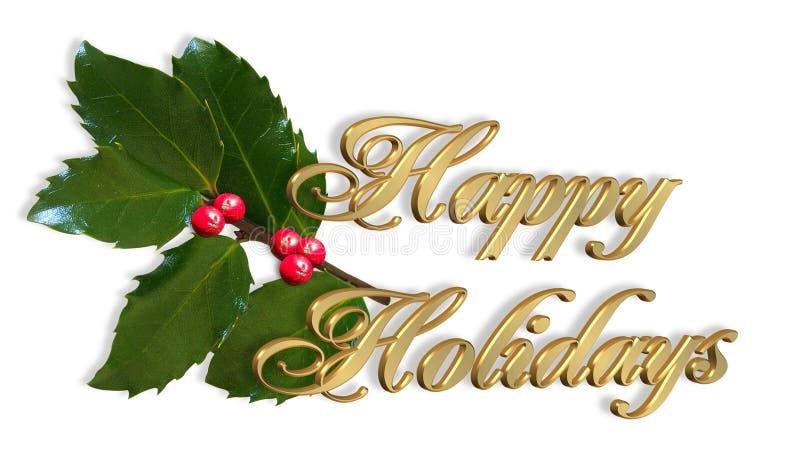 Weihnachtskarte einfach frohe Feiertage stock abbildung