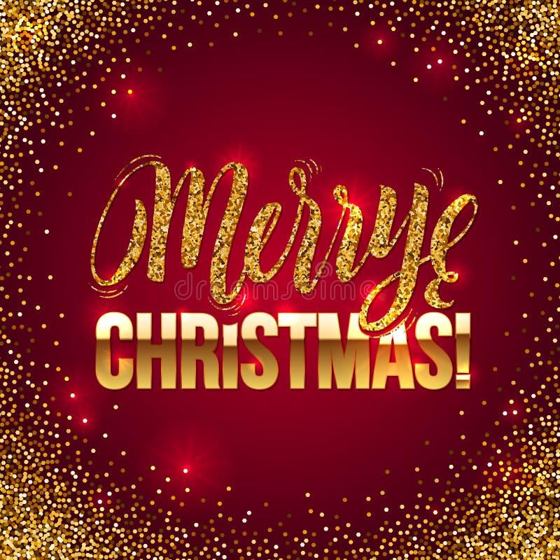 Weihnachtskarte Gold funkelt auf rotem Hintergrund Goldfunkeln und Kalligraphie-Hintergrund Gruß-Karte Weihnachten lizenzfreie abbildung