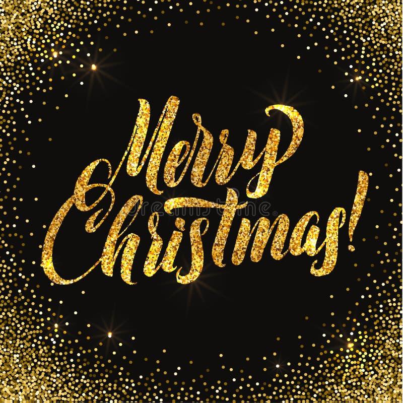 weihnachtskarte gold funkelt auf schwarzem hintergrund. Black Bedroom Furniture Sets. Home Design Ideas