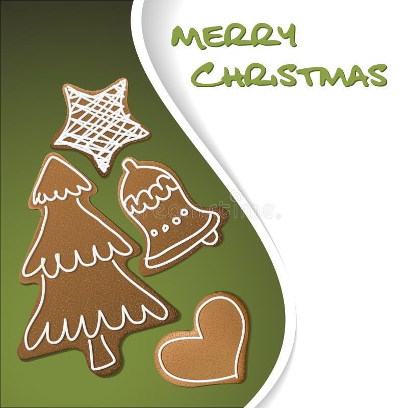 Weihnachtskarte - Lebkuchen mit weißer Vereisung vektor abbildung