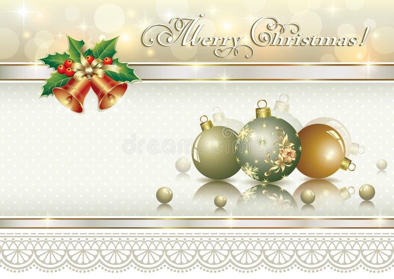 Weihnachtskarte mit Bällen und Glocken stock abbildung