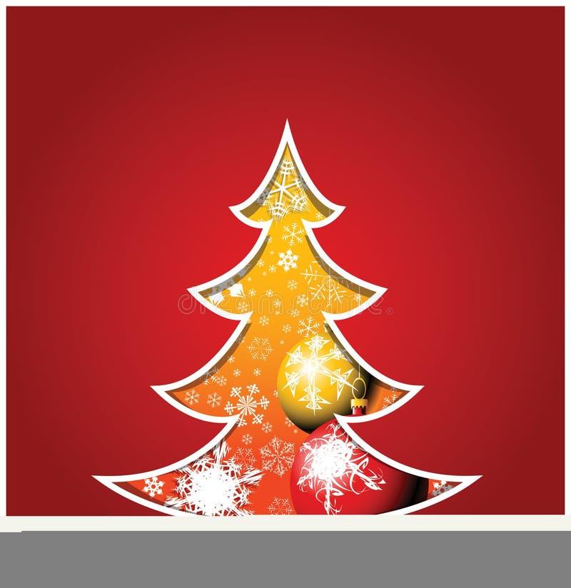 Weihnachtskarte mit Baum vektor abbildung