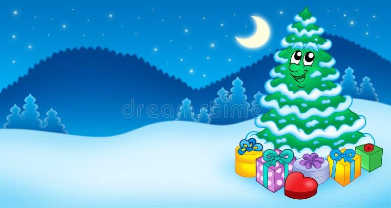 Weihnachtskarte mit Baum lizenzfreie abbildung
