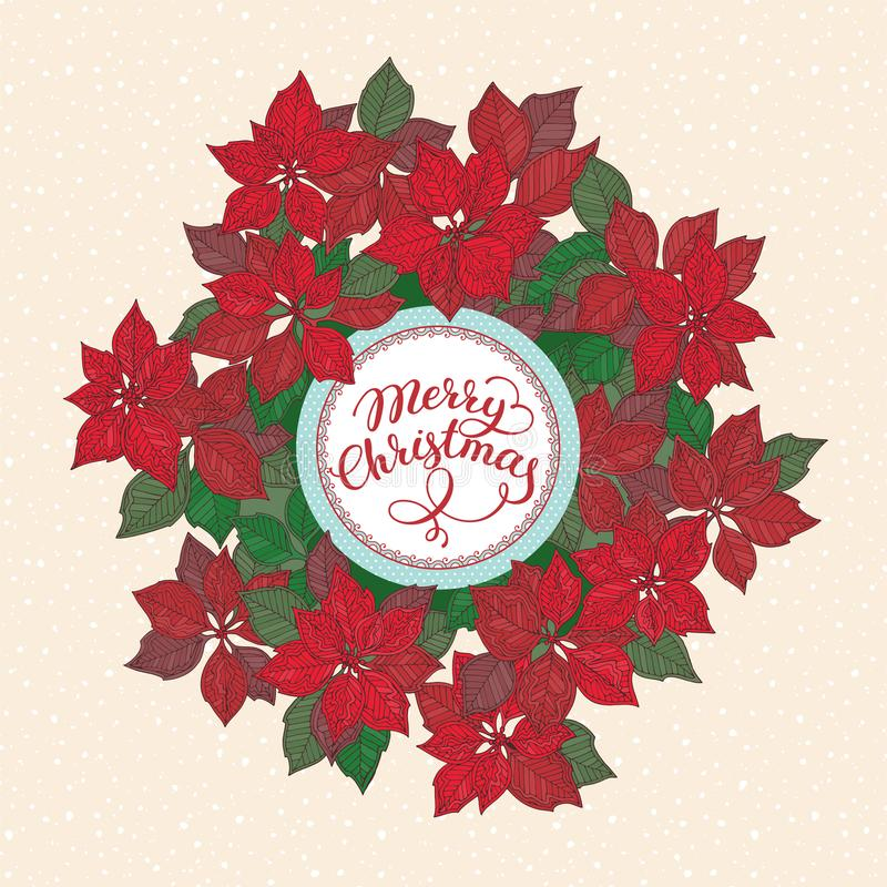 Weihnachtskarte mit Beschriftung und Weihnachtssternblumenmuster auf Schneehintergrund stock abbildung