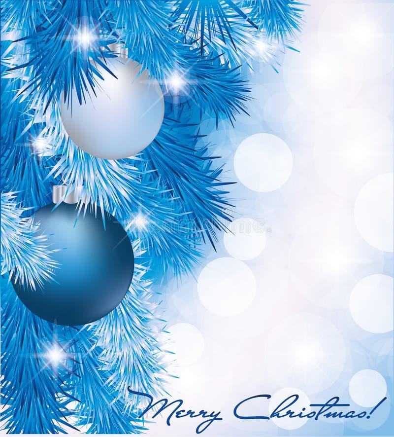 Weihnachtskarte mit blauen silbernen Kugeln lizenzfreie abbildung