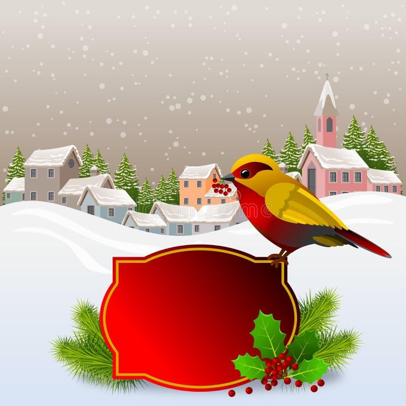 Weihnachtskarte mit bunten Vögeln im Vordergrund mit heiligen Ast und Beeren und im Hintergrund ein kleines Dorf Schneeau stock abbildung