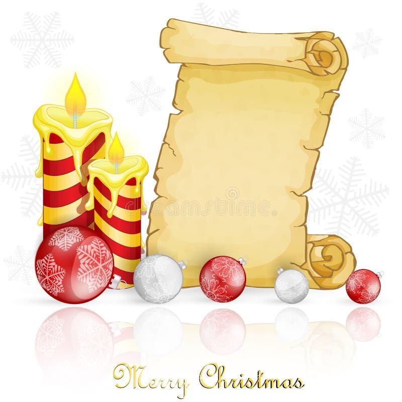 Weihnachtskarte mit Dekoration und Pergament lizenzfreie abbildung