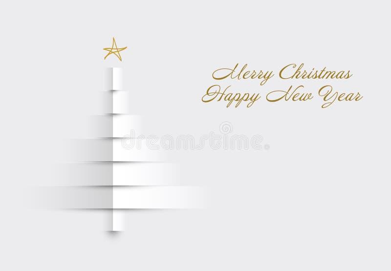 Weihnachtskarte mit dem Baum gemacht von den Papierstreifen lizenzfreie abbildung