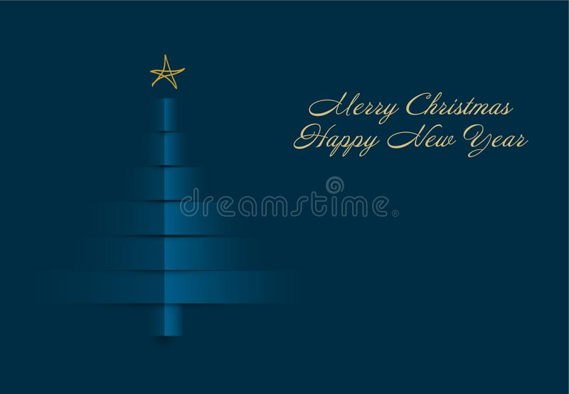 Weihnachtskarte mit dem Baum gemacht von den Papierstreifen vektor abbildung