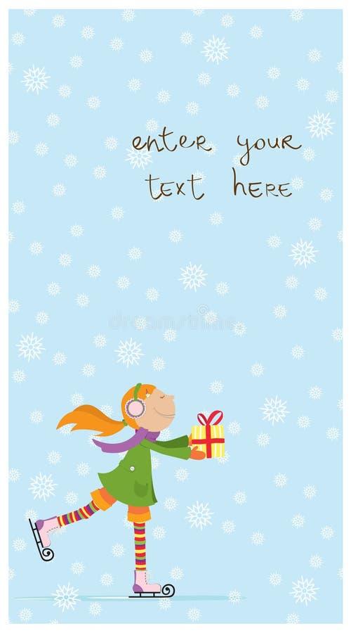 Weihnachtskarte mit dem netten Mädchen Eis-Eislauf. lizenzfreie abbildung