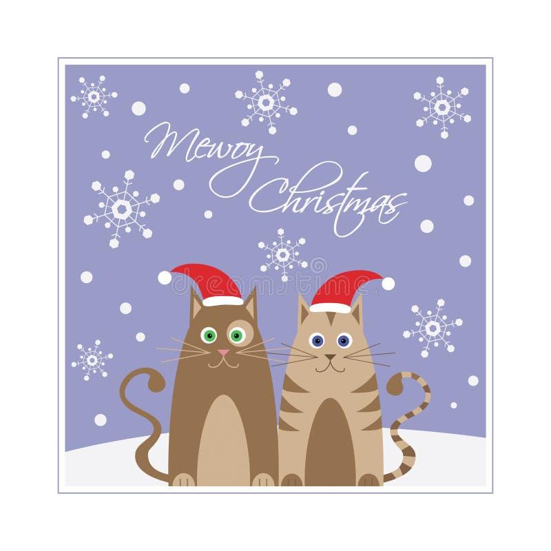 Weihnachtskarte mit den Katzen, die Sankt-Hüte tragen vektor abbildung
