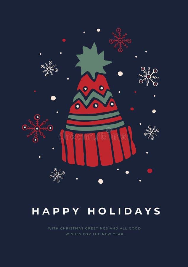 Weihnachtskarte mit einem Bild einer netten Strickmütze Schablone für Feiertagskarten vektor abbildung