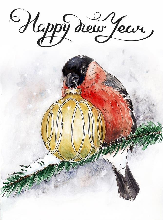 Weihnachtskarte mit einem Dompfaff vektor abbildung