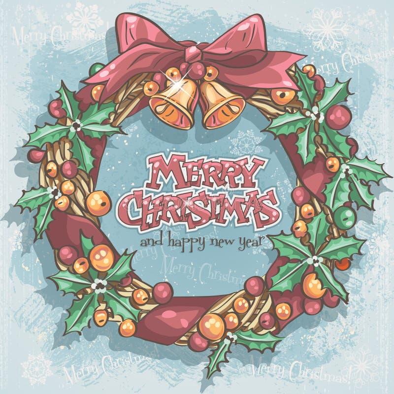 Weihnachtskarte mit einem festlichen Kranz und Glocken lizenzfreie abbildung