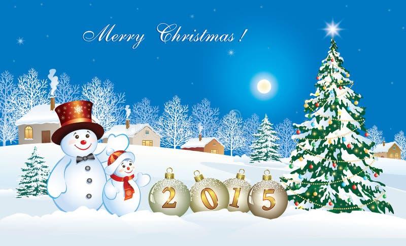 Weihnachtskarte mit einem festlichen Weihnachtsbaum und einem Schneemann vektor abbildung