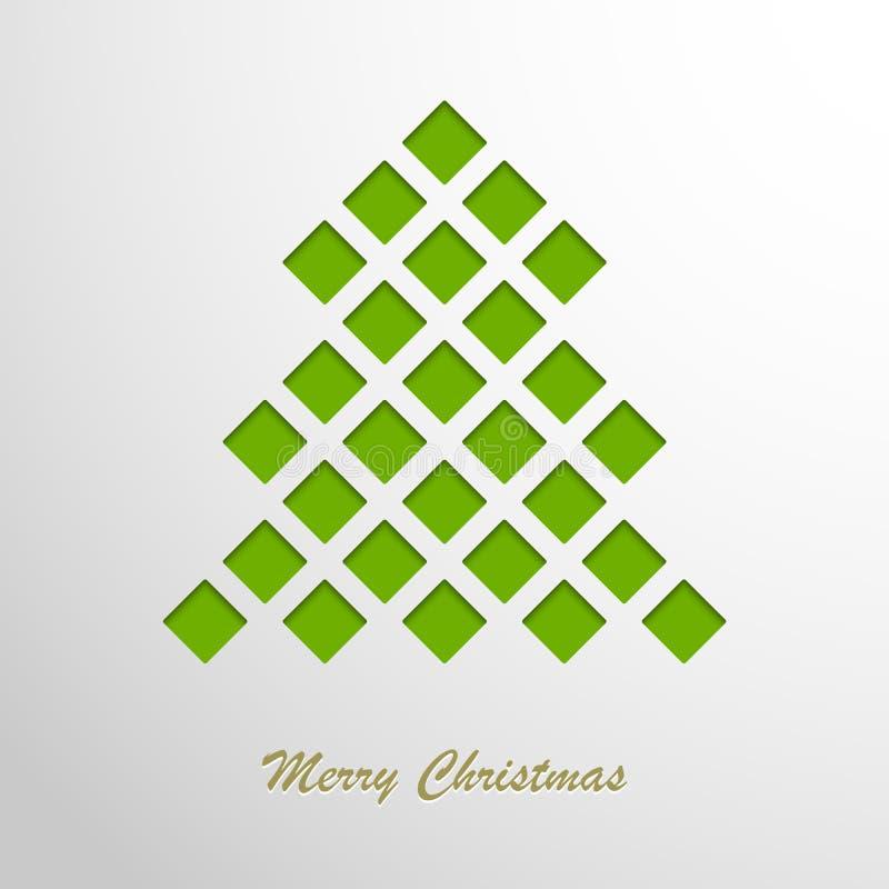 Weihnachtskarte mit einem grünen abstrakten Baum vektor abbildung