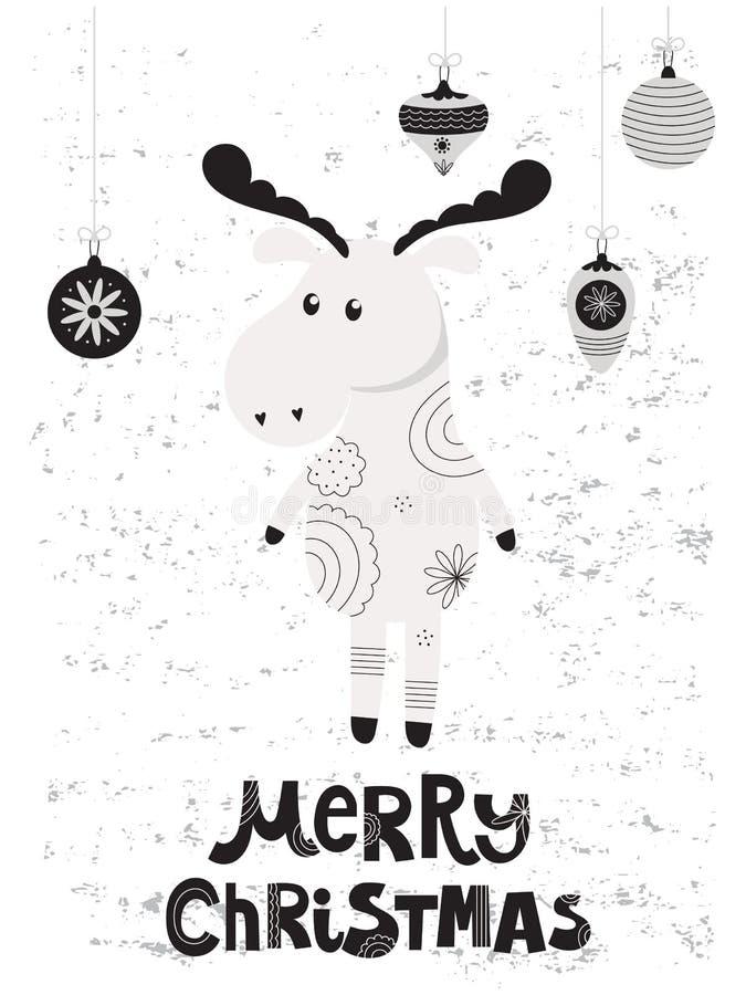 Weihnachtskarte mit Elchen lizenzfreie abbildung
