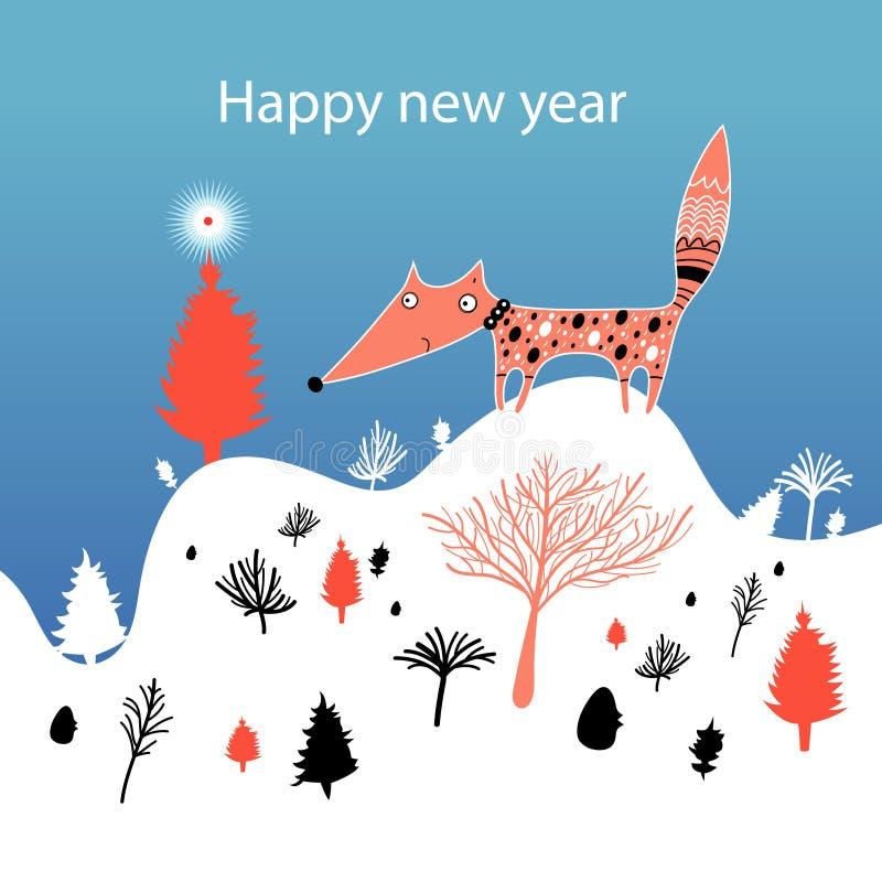 Weihnachtskarte mit Fuchs vektor abbildung