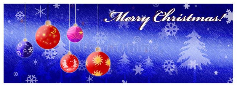 Weihnachtskarte mit glänzenden Weihnachtskugeln vektor abbildung