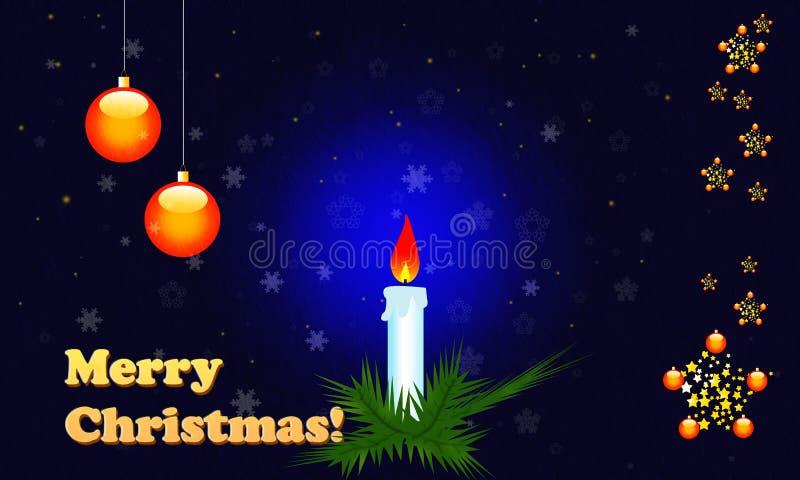 Weihnachtskarte mit glänzenden Weihnachtskugeln lizenzfreie abbildung